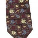 Kangaroo Necktie Mens Tie Sunshine Australia Vintage Maroon Crimson Flowers Squares 58