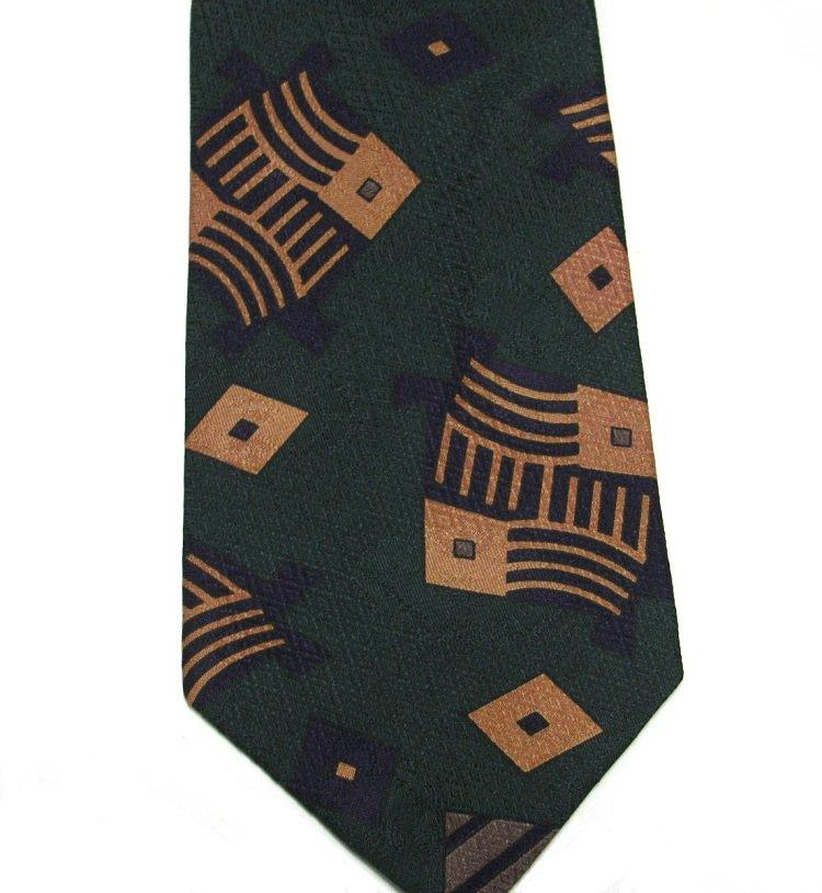 XMI Silk Tie Mens Necktie Imported Mod Green Copper Plum England 59