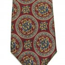 Bill Blass Silk Tie Mens Necktie Crimson Red Royal Seal Gold Classic 59