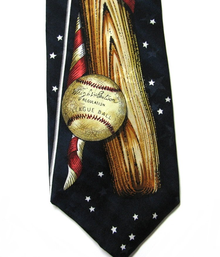 Baseball American Flag Tie Mens Necktie Americana MBP Silk Blue Stars Patriotic Sports Novelty 57