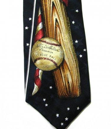 Baseball American Flag Tie Mens Necktie Americana MBP Silk Blue Stars Patriotic Sports Novelty 57