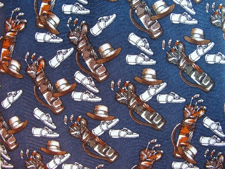 Golf Necktie Mens Tie Silk Museum Artifacts Collectible Sports Vintage Clubs Hat Shoes 58