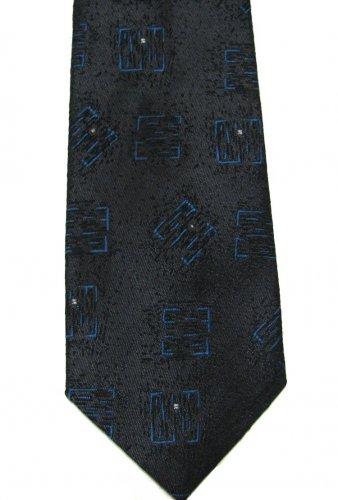 50s Necktie Mens Vintage Tie Retro Mod Charcoal Black Blue Botany 500 55