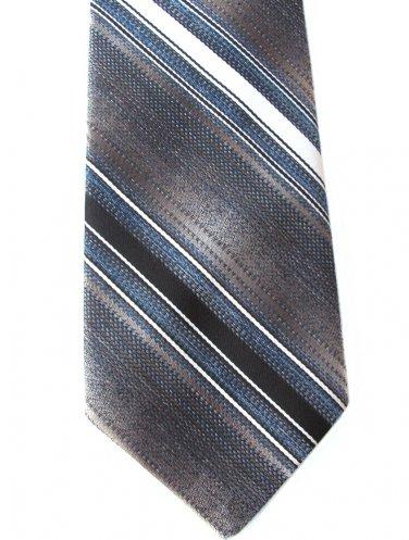Rhynecliffe Le Bil's Vintage Necktie Mens Retro Tie Classic Stripe Brown Blue Tan Cream 55