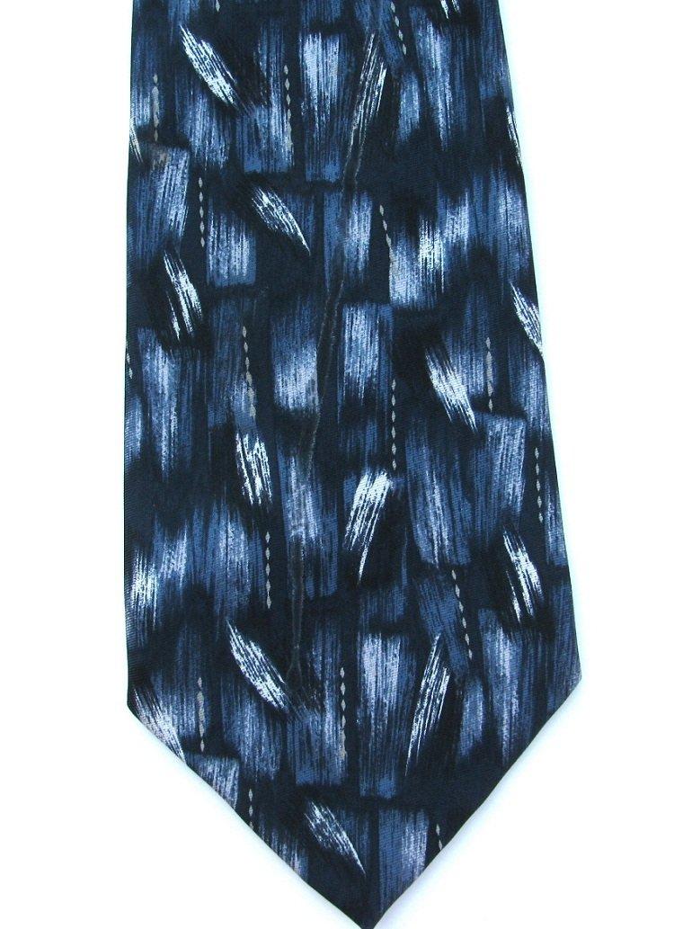 Pierre Cardin Silk Tie Mens Necktie Blue Black Abstrast Brush Strokes Paint Basketweave 58