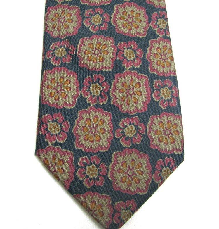 Kenneth Gordon Silk Tie Mens Necktie Orbachs Tropical Flowers Dark Green Rose 57