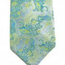 Asian Brocade Vintage Polyester Tie Mens Necktie Japan Light Blue Lime Aqua Modern 55