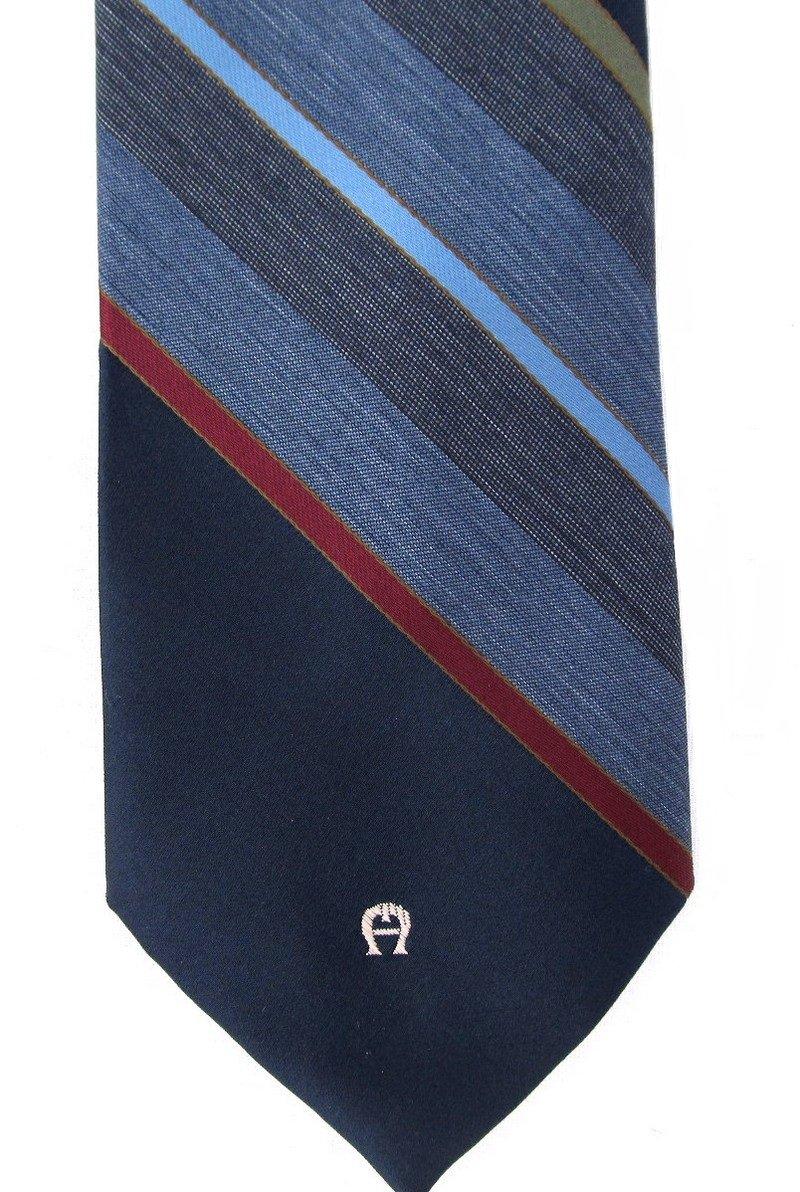 Etienne Aigner Vintage Tie Mens Necktie Classic Stripe Blue Gray Maroon 50s Silk Blend 55