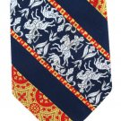 Habands Vintage Necktie Greek Mythology Man Horse Arrow Horned Creature Brocade Blue Gold Red 54