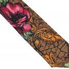 Dino Orsini Vintage Necktie Floral Cranberry Brown Rose Scroll Crackle Distressed 58