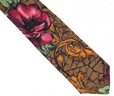 Dino Orsini Vintage Necktie Floral Cranberry Brown Rose Scroll Crackle Distressed 58