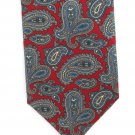 Jacobs Roberts Vintage Silk Neck Tie Mens Paisley Crimson Teal Cream English Foulard 56.5