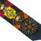 Pangborn Italian Silk Necktie Tie Abstract Art Nouveau Modern Black Yellow Orange Fleur-de-lis 58