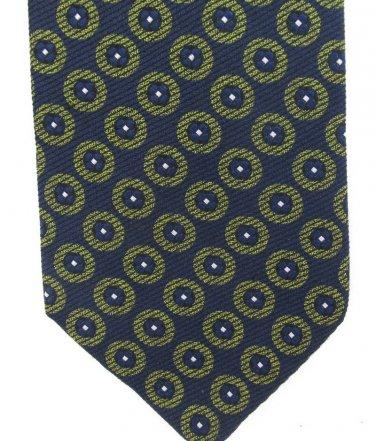 Calvin Klein Silk Neck Tie Mens Designer Fashion Dark Blue Green Cirlces Classic 58