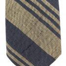 Woven Silk Necktie Mens Tie Khaki Tan Blue Wide Stripe Classic Modern Linen Preppy 54