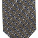 Brooks Brothers Silk Neck Tie Mens Olive Green Blue Gold Industrial Spigot Connector 58