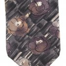 Barrington Italian Silk Neck Tie Mens Abstract Flowers Watercolors Gray Black Brown 59