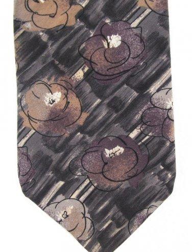 Barrington Italian Silk Neck Tie Mens Abstract Flowers Watercolors Gray Black Brown 59