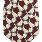 Rene Chagal Golf Neck Tie Mens Club Ball Crimson Maroon Cream Sports Novelty 58