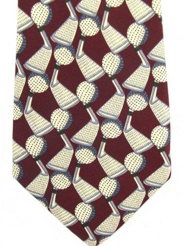Rene Chagal Golf Neck Tie Mens Club Ball Crimson Maroon Cream Sports Novelty 58