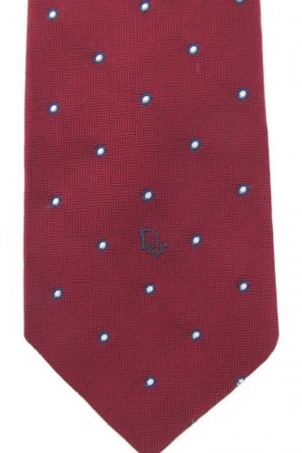 Christian Dior Vintage Skinny Tie Maroon Pindot White Navy Classic Mad Men Swing 58