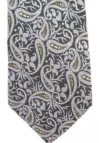 Brocade Silk Neck Tie Mens Silver Green Gold Gray India Hand Loom 54 Vintage Modern Paisley