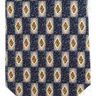 Daniel Craig Italian Silk Neck Tie Long 59 Luxury Classic Diamond Grid Blue Gold Cream
