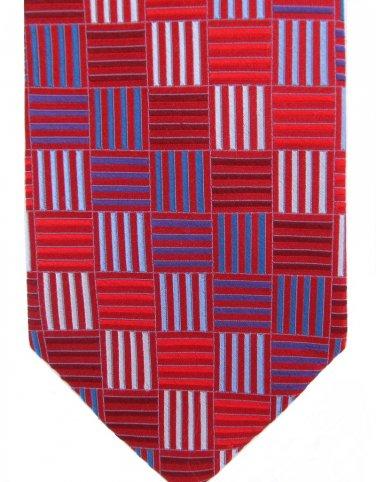 Extra Long Silk Tie 64 Babara Blank Red Blue Squares Bars Mod Design Iridescent Big Tall Handmade