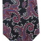 Oleg Cassini Paisley Tie Italian Silk Vintage Black Purple Rose Gray Skinny 55 Fashion Guild