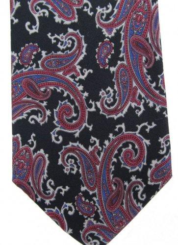 Oleg Cassini Paisley Tie Italian Silk Vintage Black Purple Rose Gray Skinny 55 Fashion Guild