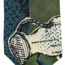 Fabienne Vintage Tie Abstract Green Teal Black Orange Art Pitcher 57