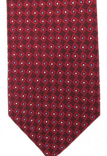 Tom James Silk Tie Woven Foulard Small Mod Classic Maroon Blue White Pindot 58