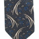 Oscar De La Renta Couture Vintage Silk Necktie Tie Blue Gray Silver Swirls Flower Luxury 54