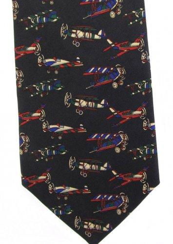 Vintage Airplanes Necktie Tie Aircraft Plane Biplane Wright Flyer Aviation Italian Silk Lucarelli