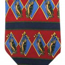 Tommy Hilfiger Golf Club Necktie Italian Silk Tie Blue Crimson Red Green Gold Preppy Sports 58