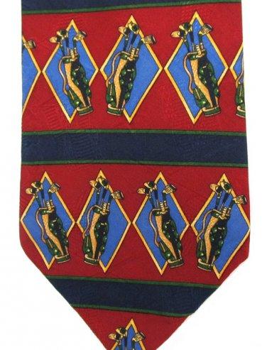 Tommy Hilfiger Golf Club Necktie Italian Silk Tie Blue Crimson Red Green Gold Preppy Sports 58