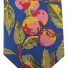 Don Loper Beverly Hills Necktie Tie Silk Fruit Plum Cherry Flower Royal Blue Pink Green Vintage 55