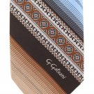 G Galvani Italian Necktie Tie Vintage Wide Stripe Brocade Medallion Brown Blue Tan 57
