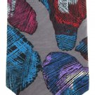Barry Of London Extra Long 60 Vintage Necktie Tie Abstract Art Gray Purple Maroon Aqua