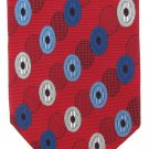 Tino Cosma Italy Silk Necktie Tie Red Mod Ovals White Blue Woven Luxury 58