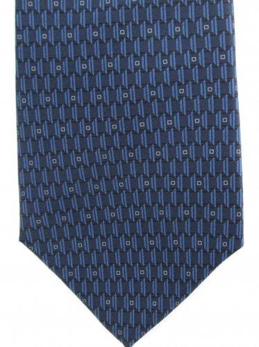 Zylos George Machado Gold Silk Necktie Mens Tie Mod Geometric Blue