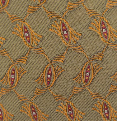 JZ Richards Silk Necktie Long Mens Tie 59.5 Jacquard Olive Green Scroll Gold Luxury Quality