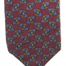 Ferrell Reed Italian Silk Necktie Mens Tie Fully Lined Maroon Brown Gold Mod Classic