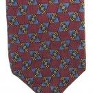 Ferrell Reed Italian Silk Necktie Mens Tie Fully Lined Maroon Brown Gold Mod Classic