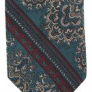 Wembley WemSilk Necktie Vintage Mens Tie Skinny 56 Brocade Stripe Midnight Green Tan Red