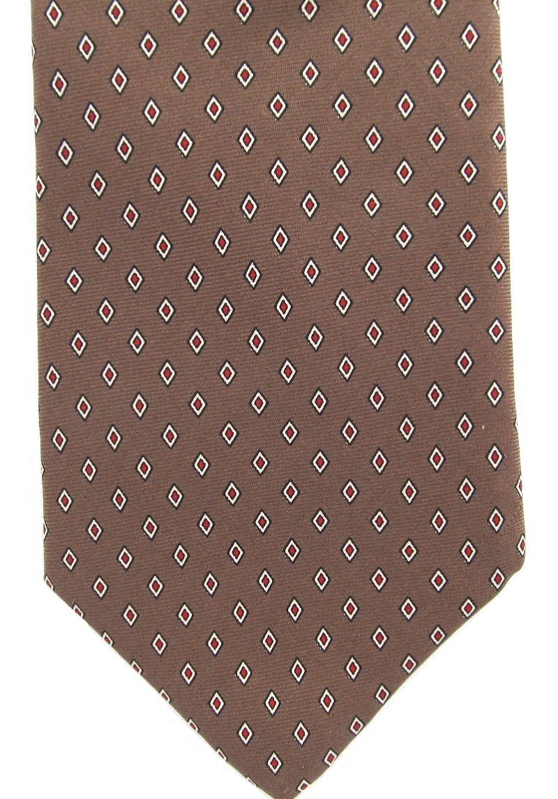 Christian Dior Vintage Tie Narrow Necktie Silk Classic Foulard Red Diamond Light Brown 57