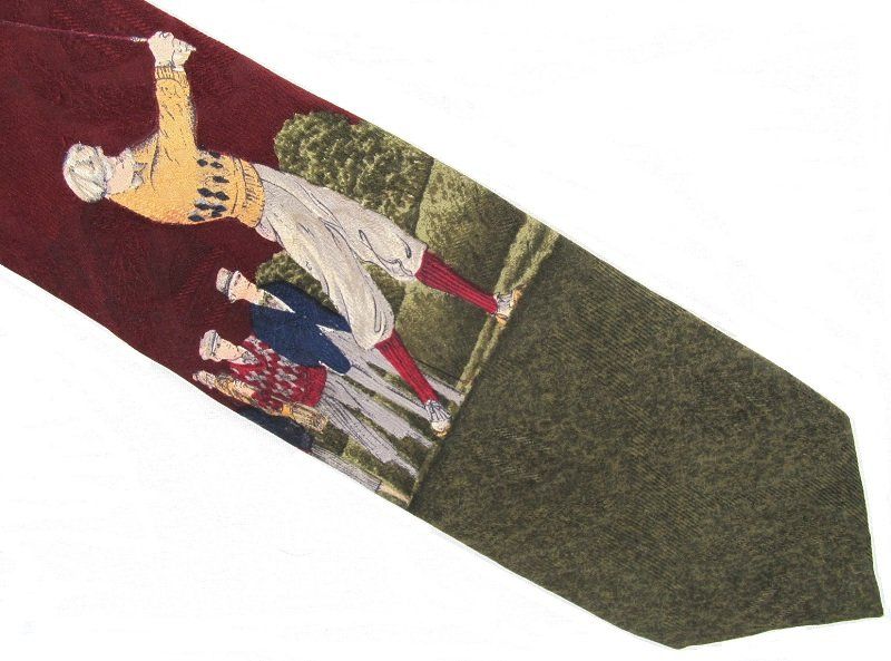 Golf Necktie Robert Talbott Hand Sewn Silk Tie Long Mens Classic Old School Golfer Green Maroon 59.5