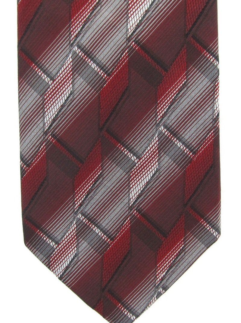 "Pierre Cardin Silk Necktie Long 59"" Mens Tie Mod 3-D Abstract Black Silver Maroon"