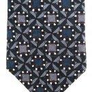Zianetti Italian Silk Necktie Mens Tie Blue Gray Maroon Mod Design