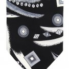 "Fie Rezza Italian Silk Necktie Extra Long 60"" Mens Funky Modern Tie Black White Abstract Art"
